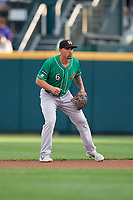 Norfolk Tides second baseman Jace Peterson (6) during an International League game against the Buffalo Bisons on June 21, 2019 at Sahlen Field in Buffalo, New York.  Buffalo defeated Norfolk 1-0, the second game of a doubleheader.  (Mike Janes/Four Seam Images)
