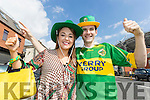 Louise Martin and Rian Gallagher, Fermanagh, supporting Kerry all the way at the All-Ireland football semi-final in Croke Park on Sunday.