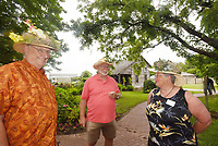 NWA Democrat-Gazette/FLIP PUTTHOFF <br /> FANCY HAT WORK<br /> Benton County Master Gardeners Charles Kerr (from left) Donald Casteel and Sharon Kerr sport fancy hats on Tuesday June 4 2019 at the 25th anniversary celebration of the Benton County Master Gardeners held at Peel Masion in Bentonville. Festivities included games, food, prize drawings and music by the duo Still on the Hill. The master gardeners maintain public gardens in the region and offer training for gardeners, said Casteel, vice-president in charge of projects.