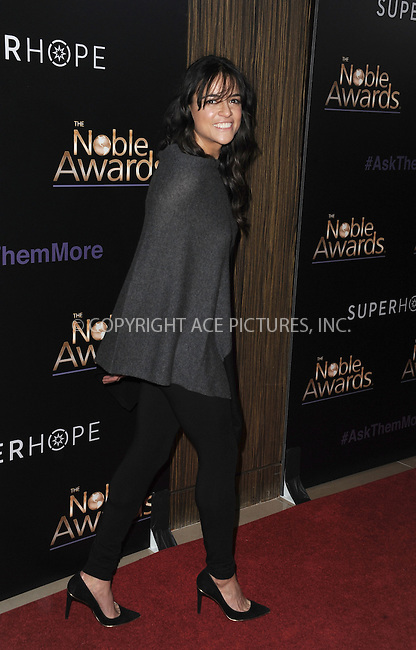 WWW.ACEPIXS.COM<br /> <br /> February 27 2015, LA<br /> <br /> Actress Michelle Rodriguez arriving at the 3rd Annual Noble Awards at The Beverly Hilton Hotel on February 27, 2015 in Beverly Hills, California.<br /> <br /> <br /> By Line: Peter West/ACE Pictures<br /> <br /> <br /> ACE Pictures, Inc.<br /> tel: 646 769 0430<br /> Email: info@acepixs.com<br /> www.acepixs.com