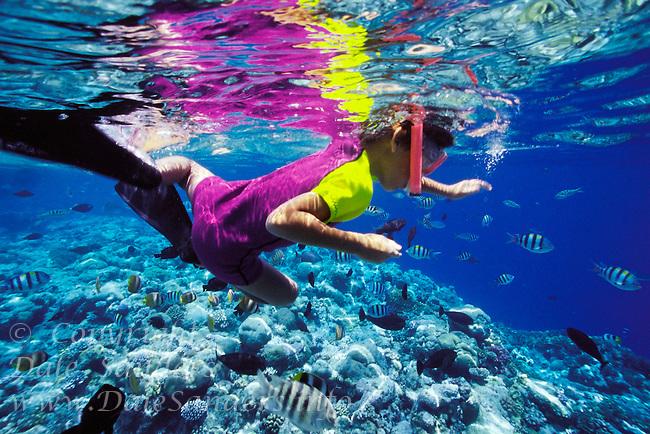 © Dale Sanders<br /> Model Release<br /> Underwater View of Boy Snorkeling<br /> Palau, Micronesia
