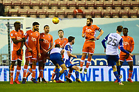 The Blackpool wall defend a free kick by Wigan Athletic's Nick Powell  <br /> <br /> Photographer Richard Martin-Roberts/CameraSport<br /> <br /> The EFL Sky Bet League One - Wigan Athletic v Blackpool - Tuesday 13th February 2018 - DW Stadium - Wigan<br /> <br /> World Copyright &not;&copy; 2018 CameraSport. All rights reserved. 43 Linden Ave. Countesthorpe. Leicester. England. LE8 5PG - Tel: +44 (0) 116 277 4147 - admin@camerasport.com - www.camerasport.com