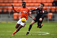 Blackpool's Viv Solomon-Otabor vies for possession with Walsall's Liam Kinsella<br /> <br /> Photographer Richard Martin-Roberts/CameraSport<br /> <br /> The EFL Sky Bet League One - Blackpool v Walsall - Saturday 10th February 2018 - Bloomfield Road - Blackpool<br /> <br /> World Copyright &copy; 2018 CameraSport. All rights reserved. 43 Linden Ave. Countesthorpe. Leicester. England. LE8 5PG - Tel: +44 (0) 116 277 4147 - admin@camerasport.com - www.camerasport.com