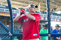 AFL East third baseman Bobby Dalbec (11), of the Mesa Solar Sox and Boston Red Sox organization, during batting practice before the Arizona Fall League Fall Stars game at Surprise Stadium on November 3, 2018 in Surprise, Arizona. The AFL West defeated the AFL East 7-6 . (Zachary Lucy/Four Seam Images)