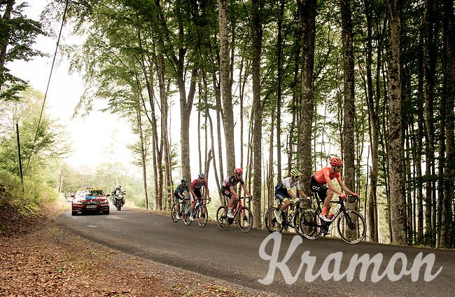 the early breakaway group up the Col du Béal with Michael Schar (SUI/CCC), Quinten Hermans (BEL/Circus - Wanty Gobert), Brent Van Moer (BEL/Lotto-Soudal), Niccolo Bonifazio (ITA/Total Direct Energie) & Tom-Jelte Slagter (NED/B&B Hotels - Vital Concept)<br /> <br /> Stage 1: Clermont-Ferrand to Saint-Christo-en-Jarez (218km)<br /> 72st Critérium du Dauphiné 2020 (2.UWT)<br /> <br /> ©kramon
