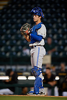Dunedin Blue Jays catcher Riley Adams (23) during a game against the Bradenton Marauders on May 2, 2018 at LECOM Park in Bradenton, Florida.  Bradenton defeated Dunedin 6-3.  (Mike Janes/Four Seam Images)