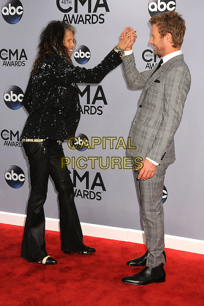 05 November 2013 - Nashville, Tennessee - Dierks Bentley, Steven Tyler. 47th CMA Awards, Country Music's Biggest Night, held at Bridgestone Arena. <br /> CAP/ADM/BP<br /> &copy;BP/ADM/Capital Pictures