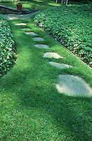 Stepping stone path in lawn in sun and shade