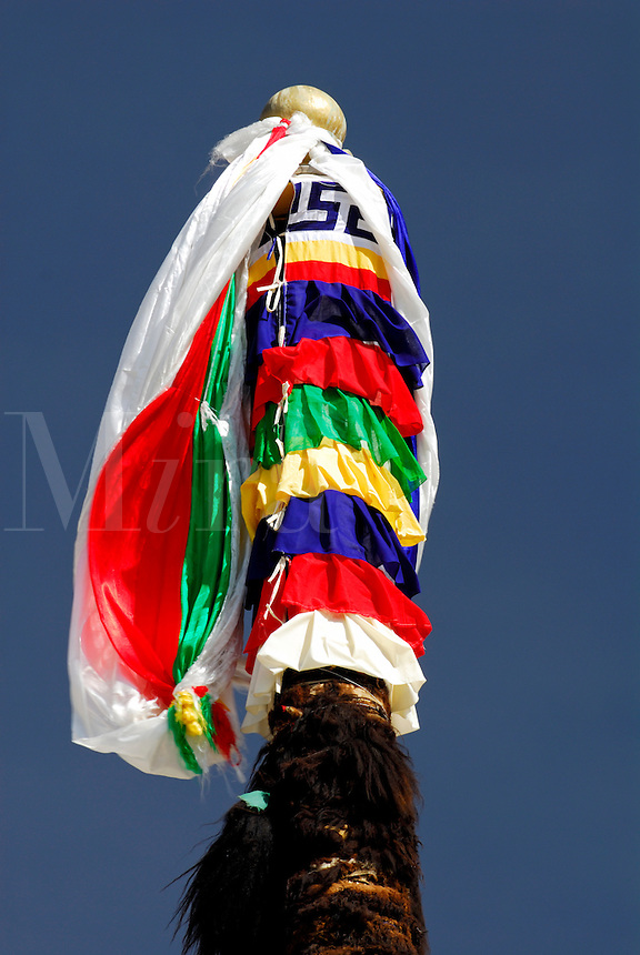 Prayer-flag pole, or darchen, bound by strips of yak hide and topped by prayer flags, white for wind, red fire, blue sky, yellow earth and green water, with white silk prayer scarves, outside the Main Assembly Hall at Drepung Monastery, Lhasa, Tibet, China..