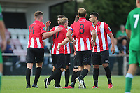 Hornchurch celebrate their third goal of the game during AFC Hornchurch vs Soham Town Rangers, Bostik League Division 1 North Football at Hornchurch Stadium on 12th August 2017