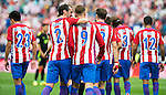 Atletico de Madrid's player Nico Gaitán, Diego Godín, Fernando Torres, Saúl Ñígez, Filipe Luis and Augusto Matías during a match of La Liga Santander at Vicente Calderon Stadium in Madrid. September 17, Spain. 2016. (ALTERPHOTOS/BorjaB.Hojas)