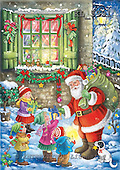 Interlitho, CHRISTMAS SANTA, SNOWMAN, paintings+++++,santa,4 childs,dog,KL5991,#x# Weihnachten, nostalgisch, Navidad, nostálgico, illustrations, pinturas