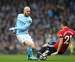 Ander Herrera of Manchester United tackles David Silva of Manchester City during the premier league match at the Etihad Stadium, Manchester. Picture date 7th April 2018. Picture credit should read: Simon Bellis/Sportimage