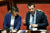 Giulia Bongiorno and Matteo Salvini <br /> Rome March 20th 2019. Senate vote on the immunity from prosecution for the Minister of Internal Affairs Matteo Salvini.  Last August 20th a ship, carrying 177 migrants (among them many minors) docked in the harbour of Catania but Minister Salvini took the decision to block migrants of Diciotti ship at sea. For that reason the magistracy accused the minister of kidnapping.<br /> Foto Samantha Zucchi Insidefoto