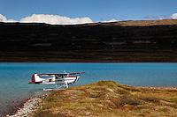 Float plane and blue lake, Alaska