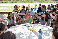 Courtney Baker, Associate Professor of American Studies. Individual faculty advising appointments in the Academic Quad for incoming first-years at the start of Occidental College's Fall Orientation for the class of 2021, Aug. 25, 2017.<br /> (Photo by Marc Campos, Occidental College Photographer)