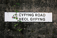 A Cyfyng Road sign, near the terraced houses which have been either abandoned or evacuated over fears of a landslide in the area in Ystalyfera, Wales, UK. Wednesday 30 August 2017