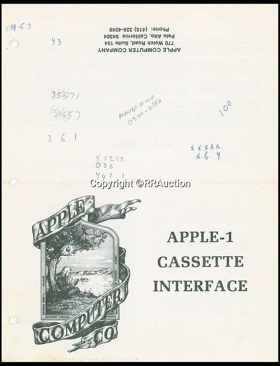 BNPS.co.uk (01202 558833)<br /> Pic : RRAuction/BNPS<br /> <br /> An original Apple Cassette interface manual, part of a rare Apple-1 computer up for sale for £230,000.<br /> <br /> An extremely rare Apple-1 computer which is in full working order 42 years after Steve Jobs built it in his garage has emerged for sale for £230,000. ($300,000)<br /> <br /> The collector's machine was one of 200 the late Apple founder and his associate Steve Wozniak designed, created and sold in 1976.<br /> <br /> There are believed to be about 60 Apple-1 computers in existence today, with only a handful still fully functioning.<br /> <br /> The groundbreaking computer that gave birth to the Apple empire was the first ready-made PC to ever come on the market, selling for $666 at the time.