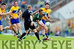 Stephen O'Brien Kerry in action against Cian O'Dea Clare during the Munster GAA Football Senior Championship semi-final match between Kerry and Clare at Fitzgerald Stadium in Killarney on Sunday.