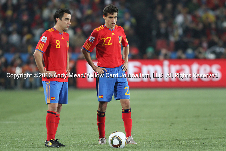 21 JUN 2010: Xavi (ESP) (8) and Jesus Navas (ESP) (22). The Spain National Team defeated the Honduras National Team 2-0 at Ellis Park Stadium in Johannesburg, South Africa in a 2010 FIFA World Cup Group H match.