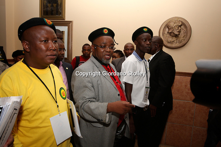 PRETORIA - 10 February 2012 - Embattled African National Congress Youth League (ANCYL) president Julius Malema (left) leaves a closed session of the leagues National Executive Committee meeting accompanied by ANC secretary general Gwede Mantashe and ANCYL secretary general Sindiso Magaqa. Both Malema and Magaqa ave been suspended from the party for sewing division in the ranks..Picture: Giordano Stolley/Allied Picture Press APP