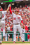 "3 April 2017: Washington Nationals catcher Matt Wieters gets a ""high-five""  after a scoring play against the Miami Marlins on Opening Day at Nationals Park in Washington, DC. The Nationals defeated the Marlins 4-2 to open the 2017 MLB Season. Mandatory Credit: Ed Wolfstein Photo *** RAW (NEF) Image File Available ***"