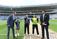 Coin toss with captains Kane Williamson and David Warner.<br /> New Zealand Black Caps v Australia.Tri-Series International Twenty20 cricket final. Eden Park, Auckland, New Zealand. Wednesday 21 February 2018. &copy; Copyright Photo: Andrew Cornaga / www.Photosport.nz