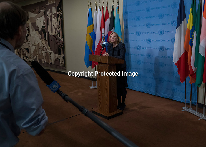 Elizabeth Spehar, Special Representative of the Secretary-General and Head of the United Nations Peacekeeping Force in Cyprus (UNFICYP), briefs press after UNFICYP consultations in the Security Council.