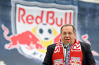 Harrison Mayor Raymond McDonough addresses the media during the topping off ceremony at Red Bull Arena in Harrison, NJ, on April 14, 2009.
