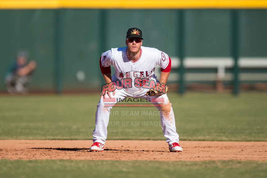 Mesa Solar Sox first baseman David MacKinnon (20), of the Los Angeles Angels organization, during an Arizona Fall League game against the Peoria Javelinas at Sloan Park on November 6, 2018 in Mesa, Arizona. Mesa defeated Peoria 7-5 . (Zachary Lucy/Four Seam Images)