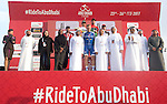 The final podium at the end of Stage 2 the Nation Towers Stage of the 2017 Abu Dhabi Tour, running 153km around the city of Abu Dhabi, Abu Dhabi. 24th February 2017.<br />