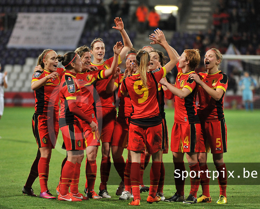 20131031 - ANTWERPEN , BELGIUM : Belgian team pictured celebrating the 4-1 lead over Portugal during the female soccer match between Belgium and Portugal , on the fourth matchday in group 5 of the UEFA qualifying round to the FIFA Women World Cup in Canada 2015 at Het Kiel stadium , Antwerp . Thursday 31st October 2013. PHOTO DAVID CATRY