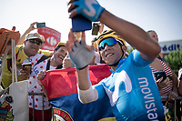 Nairo Quintana (COL/Movistar) taking a selfie with colombian fans at the finish line in Nîmes<br /> <br /> Stage 16: Nîmes to Nîmes (177km)<br /> 106th Tour de France 2019 (2.UWT)<br /> <br /> ©kramon