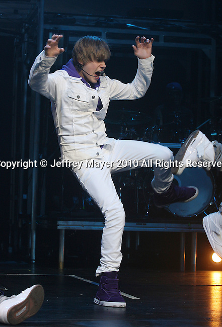 LOS ANGELES, CA. - July 20: Justin Bieber in concert at Nokia Theatre L.A. Live on July 20, 2010 in Los Angeles, California.