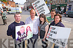 Kerry parents assemble in Newcastle West last Friday to protest over cuts to rural bus services ahead of the arrival of Enda Kenny, pictured l-r: Chris Brouder(Kilcolman), Jackie O'Driscoll and Rachel Sheehan(Lauragh), Garry Kelly(Kilcolman) and Sinead O'Donovan(Tousist).