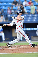 Greenville Drive center fielder Jagger Rusconi (48) swings at a pitch during a game against the Asheville Tourists at McCormick Field on September 5, 2017 in Asheville, North Carolina. The Tourists defeated the Drive 4-2. (Tony Farlow/Four Seam Images)
