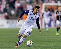 Foxborough, Massachusetts - September 2, 2017: In a Major League Soccer (MLS) match, New England Revolution (blue/white) defeated Orlando City SC (white), 4-0, at Gillette Stadium.