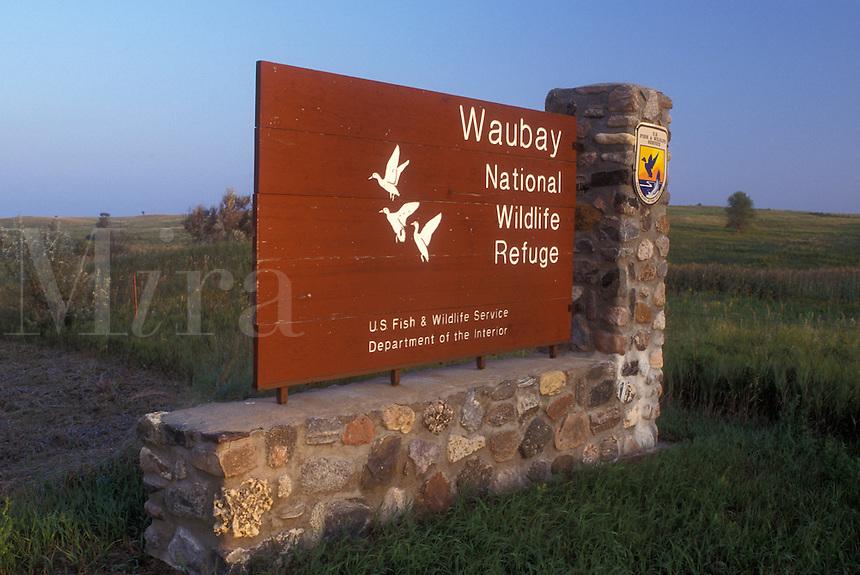 AJ0390, South Dakota, Waubay National Wildlife Refuge entrance sign. Home to many species of birds and mammals.