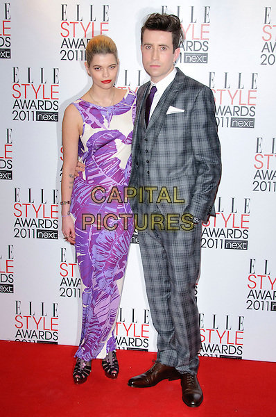 PIXIE GELDOF & NICK GRIMSHAW .2011 ELLE Style Awards at the Grand Connaught Rooms, London, England, UK, February 14th, 2011..full length  long maxi white purple print dress sleeveless  grey gray checked suit plaid tie .CAP/CJ.©Chris Joseph/Capital Pictures.