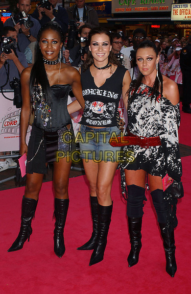 LIBERTY X.Legally Blonde 2 Premiere, Empire, Leicester Square, London.23rd July 2003.full length, full-length, black boots, 80's style, belt.www.capitalpictures.com.sales@capitalpictures.com.Supplied By Capital PIctures