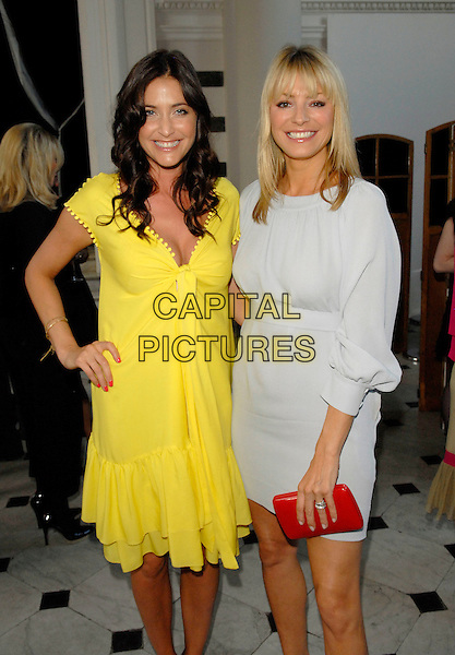 LISA SNOWDON & TESS DALY.The Grazia O2 Awards, Sunbeam Studio, London, .England, July 19th 2007. .half length yellow dress  grey silver red orange clutch bag .CAP/FIN.©Steve Finn/Capital Pictures.