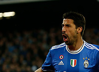 Sami Kheidera celebrates after scoring during the  italian serie a soccer match,between SSC Napoli and Juventus       at  the San  Paolo   stadium in Naples  Italy , April 02, 2017