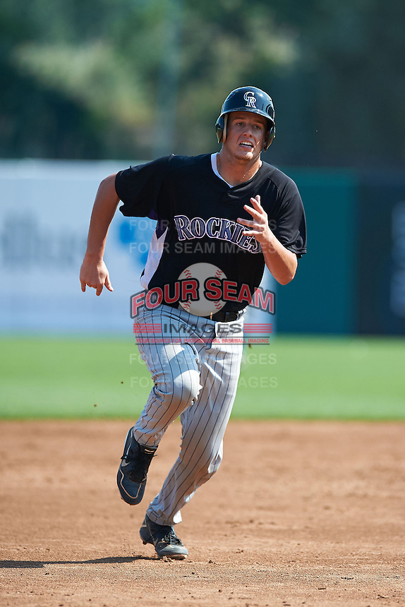 Michael Mann #19 of Seminole High School in Seminole, Florida playing for the Colorado Rockies scout team during the East Coast Pro Showcase at Alliance Bank Stadium on August 4, 2012 in Syracuse, New York.  (Mike Janes/Four Seam Images)