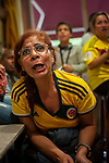 Football fans from Colombial watch their national team's Russia 2018 World Cup Group H match against Senegal. Irun (Basque Country). June 24, 2018. (Gari Garaialde / BostokPhoto)