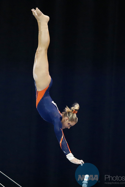 Apr 18, 2015; Fort Worth, TX, USA; Abby Milliet from the University of Auburn performs on the uneven parallel bars  during the Division I Women's Gymnastics Championship held at the Fort Worth Convention Center Arena in Fort Worth, Texas. Tim Heitman/NCAA Photos