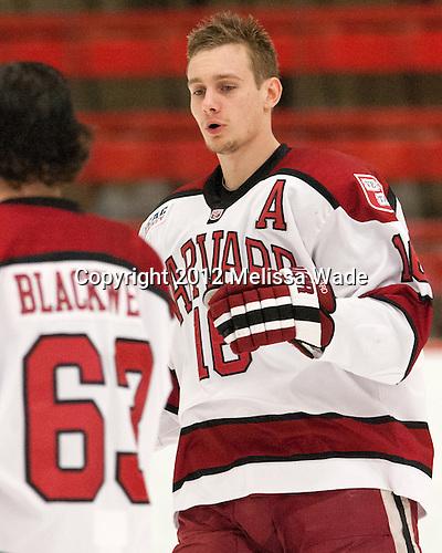Alex Fallstrom (Harvard - 16) - The visiting University of Massachusetts Lowell River Hawks defeated the Harvard University Crimson 5-0 on Monday, December 10, 2012, at Bright Hockey Center in Cambridge, Massachusetts.