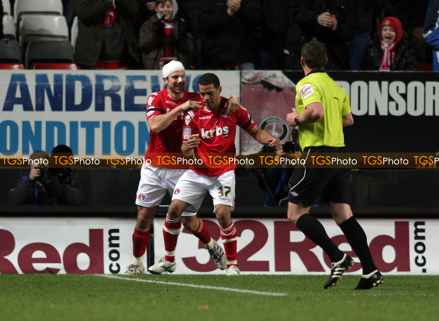 Darel Russell of Charlton Athletic FC celebrates his goal taking Charlton Athletic FC 1-0 up - Charlton Athletic vs Oldham Athletic - nPower League One Football at The Valley, London - 17/12/11 - MANDATORY CREDIT: Helen Watson/TGSPHOTO - Self billing applies where appropriate - 0845 094 6026 - contact@tgsphoto.co.uk - NO UNPAID USE.