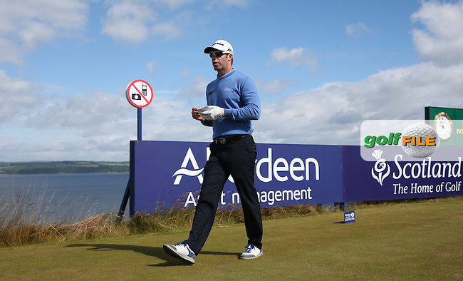 Bradley Dredge (WAL) leaving the 18th tee during the First Round of the 2016 Aberdeen Asset Management Scottish Open, played at Castle Stuart Golf Club, Inverness, Scotland. 07/07/2016. Picture: David Lloyd | Golffile.<br /> <br /> All photos usage must carry mandatory copyright credit (&copy; Golffile | David Lloyd)