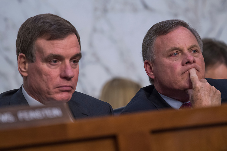 UNITED STATES - JUNE 8: Chairman Richard Burr, R-N.C., right, and Vice-Chair Mark Warner, D-Va., conduct a Senate Select Intelligence Committee hearing about Russian interference in the 2016 election featuring testimony by former FBI Director James Comey on June 8, 2017. (Photo By Tom Williams/CQ Roll Call)