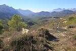 Mountain peaks landscape from Coll de Rates, Tàrbena, Marina Alta, Alicante province, Spain looking west